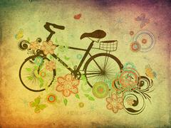 Bicycle and Floral Ornament Grunge Stock Illustration