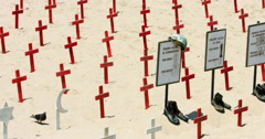 Crosses at symbolic military cemetery in Santa Monica Beach, Los Angeles 4K RAW - stock footage