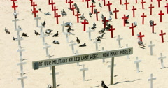 Crosses at memorial military cemetery of fallen soldiers of Iraq war 4K RAW Stock Footage