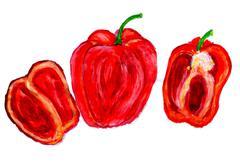 Three Peppers Art - stock illustration