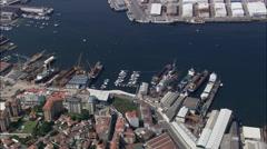 Vigo And Harbour Stock Footage