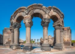 The ruins of the ancient temple of Zvartnots, Armenia Stock Photos