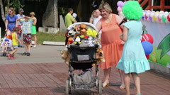 Perm, Russia, Festival of baby's carriage in the urban park. Stock Footage