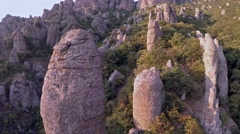 Crimea Ghosts Valley Mountain. Drone flies stone. Stock Footage