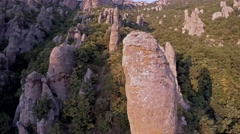 Crimea Ghosts Valley Mountain. Drone flies stone. - stock footage