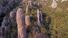 Crimea Ghosts Valley Mountain. Drone crashes near the large stones. Stock Footage