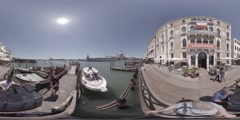 People work on a deck on the grand canal, Venice Italy, 360 video VR Stock Footage