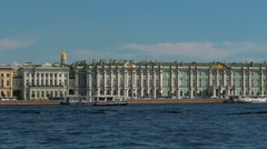ST. PETERSBURG, RUSSIA : View of the Palace Bridge, dome of St Isaac's Cathedral - stock footage