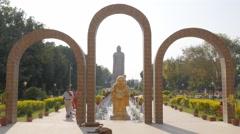 Gate to Thai temple,Sarnath,India Stock Footage