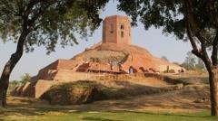 Chaukhandi Stupa being restored,Sarnath,India - stock footage