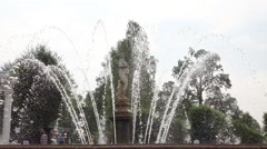 Big water drops around sculpture, Eva fountain at Peterhof, slow motion - stock footage