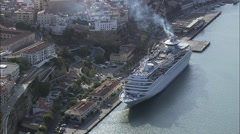 Cruise Liner In Mahon Harbour Stock Footage