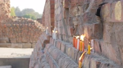 Candle's on ruins,Sarnath,India Stock Footage