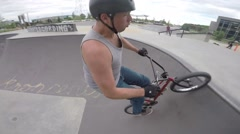 Extreme BMX Bicycle Riding Tail whip to tire tap Stock Footage