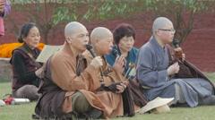 International monks praying,Sarnath,India Stock Footage