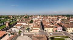 Aerial view of the walled city of Montagnana, Italy. Stock Photos