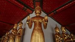 Bhuddas in Wat Pho temple, Bangkok, Thailand Stock Footage