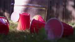 Messy lawn in front of Fraternity House Stock Footage