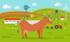 Cow on Farmyard Concept Illustration Piirros