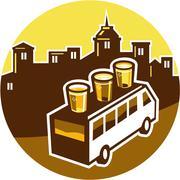 Beer Flight Glass On Van Buildings Circle Retro Stock Illustration