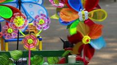 Urban park, Colorful pinwheel Stock Footage