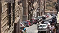 European Street In Spanish Town Stock Footage
