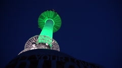 N Seoul tower, Namsan tower at night. Tourist love lock landmark spot Stock Footage