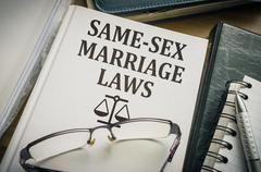 Same-sex marriage (Homosexual partnership) laws book. Stock Photos