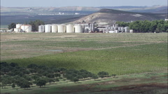 Wine Storage Tanks And Vineyards Stock Footage