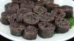 Korean food, blood sausage with rice. Soondae or Sundae Stock Footage