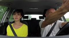 Road Rage With Angry Man Arguing Fighting While Driving Car Stock Footage