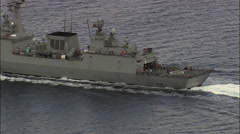 Italian Warship And Support Vessel In Straits Of Messina Stock Footage