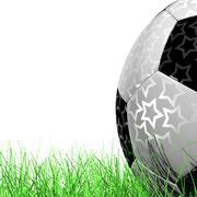 leather Soccer Ball on Grassl  a white background 3D illustration - stock illustration