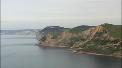 East Ebb Cove And Cliff Top Beacon (East Of Charmouth) Stock Footage