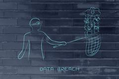 Masked man stealing files from cloud with download icon, data theft Stock Illustration