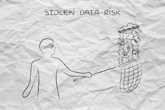 masked man stealing files from a cloud with lock & chain, data theft - stock illustration