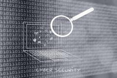 laptop analyzed by magnifying glass, antivirus scan - stock illustration