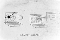 Pirate laptop spying another one, with pop-up Spyware Found Stock Illustration