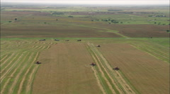 Four Combine Harvesters In Action Stock Footage