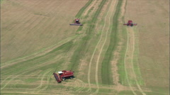 Looking Down On Combine Harvesters Stock Footage