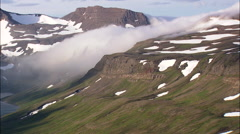 Clouds Streaming Off The Drangajokull Mountains Stock Footage