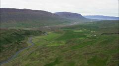 Valley Leading To Akureyri Stock Footage