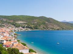 Limni village at Euboea in Greece. Panoramic view. - stock photo