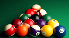 Billiard ball breaks the pyramid Stock Footage