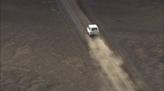 Cars On Lava Bed Roads At Veioivotn Stock Footage