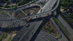 Aerial View of Highway Interchange in Moscow City, Russia Stock Footage