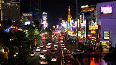Time Lapse of Busy Las Vegas Boulevard at Night Stock Footage