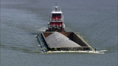 Tug And Barge On James River Stock Footage