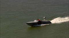 Two Small Navy Power Boats Stock Footage