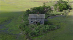 Abandoned House On Hog Bay Marshes Stock Footage